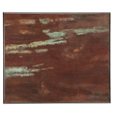 """Walter Sorge Large-Scale Oil Painting """"Fish Pond,"""" Late 20th Century"""