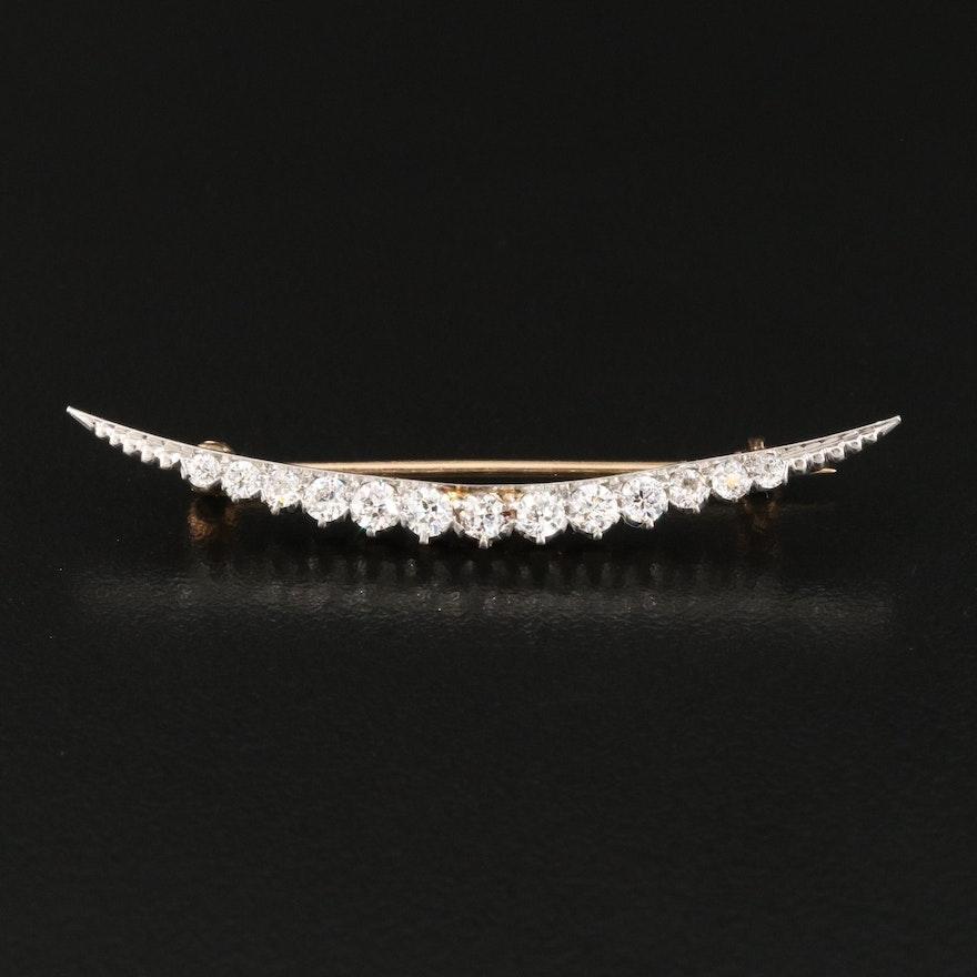 Edwardian Platinum and 14K 0.68 CTW Diamond Crescent Brooch