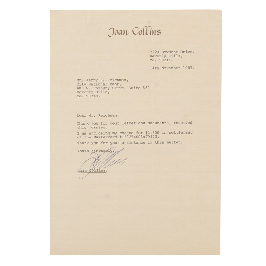 Joan Collins Signed Personal Document on Stationary, 1983