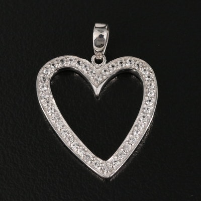Sterling Zircon Heart Pendant