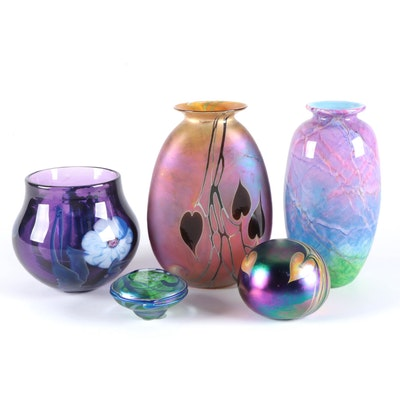 Josh Simpson Floral Art Glass Vase and Other Signed Glass Vases and Paperweights