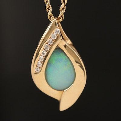 14K Opal and 0.26 CTW Diamond Pendant Necklace