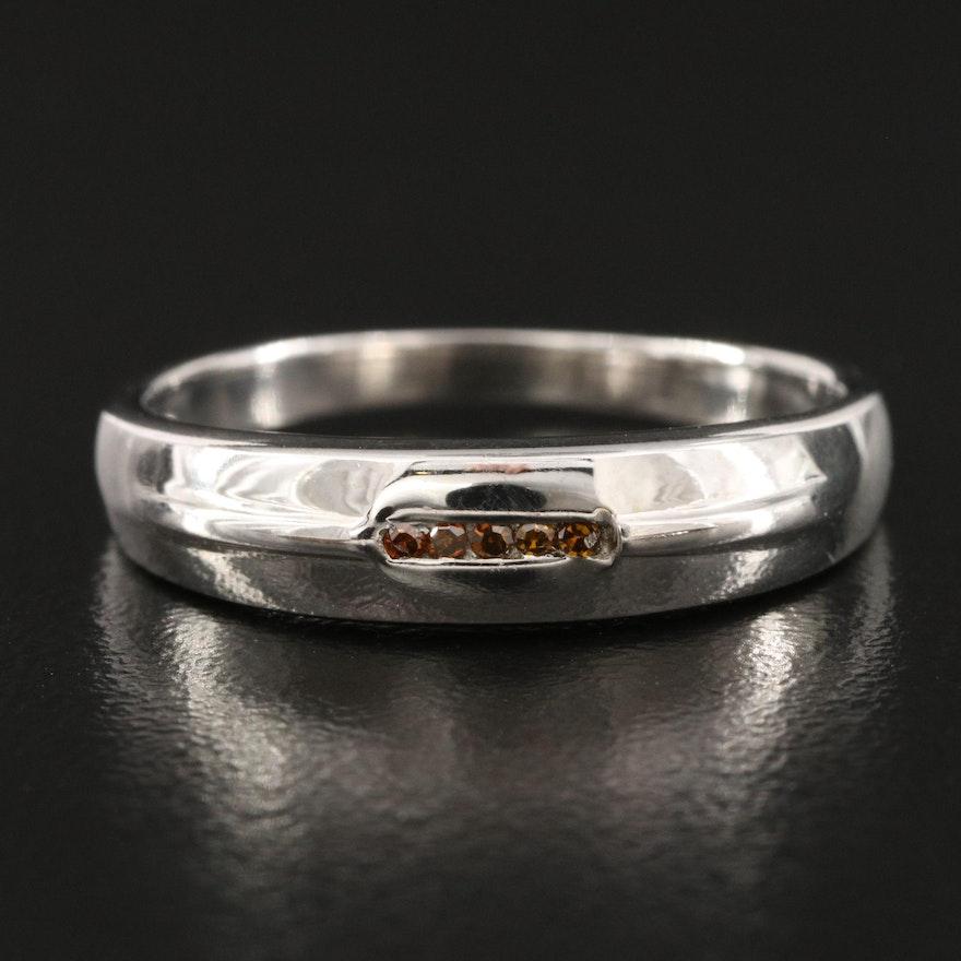 Sterling Diamond Channel Ring