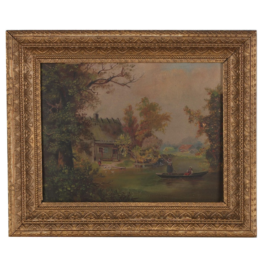 Landscape Oil Painting of House on a River, Late 19th-Early 20th Century