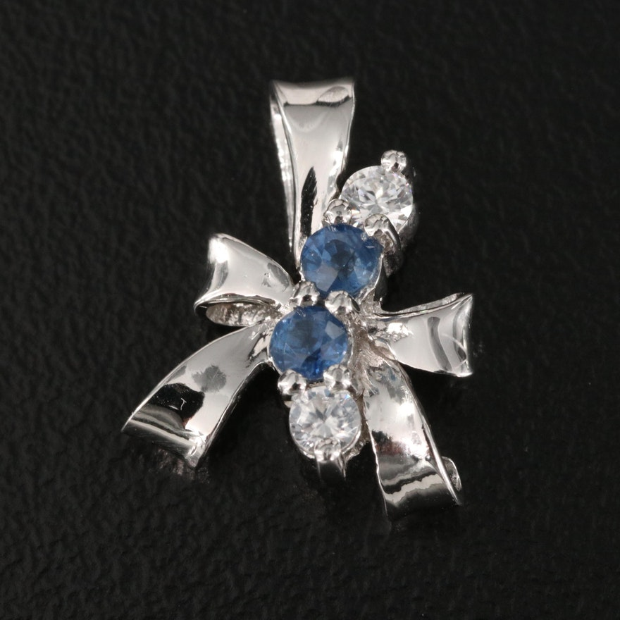 Sterling Silver Sapphire and Zircon Bow Pendant
