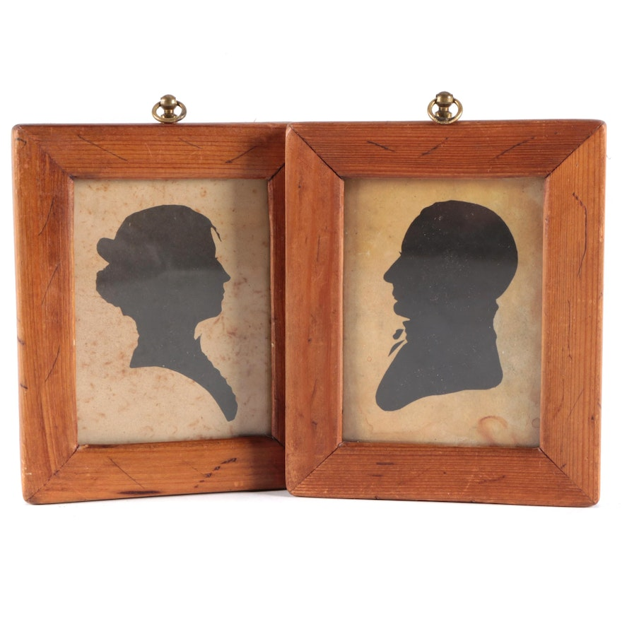Hand-Painted Ink Silhouette Portraits of Man and Woman
