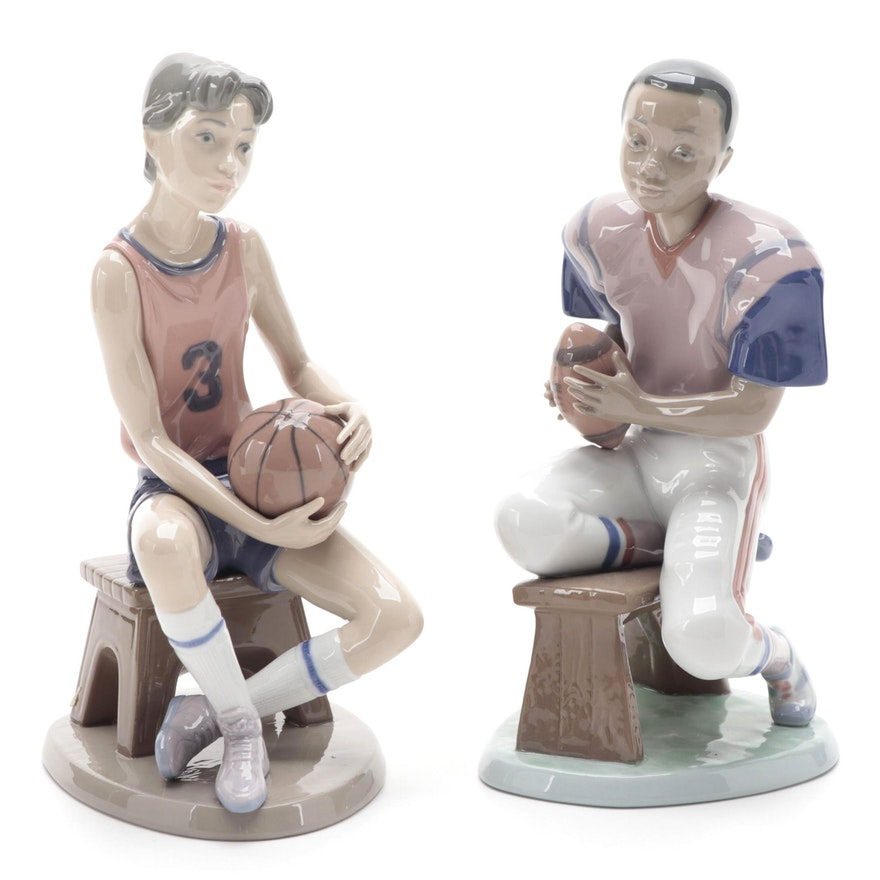 """Lladró """"Basketball Player"""" and """"Football Star"""" Porcelain Figurines, 1993"""