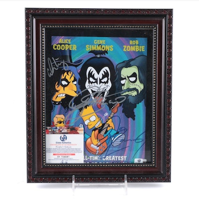 Alice Cooper, Gene Simmons, Rob Zombie Signed Simpsons Print in Frame, COA