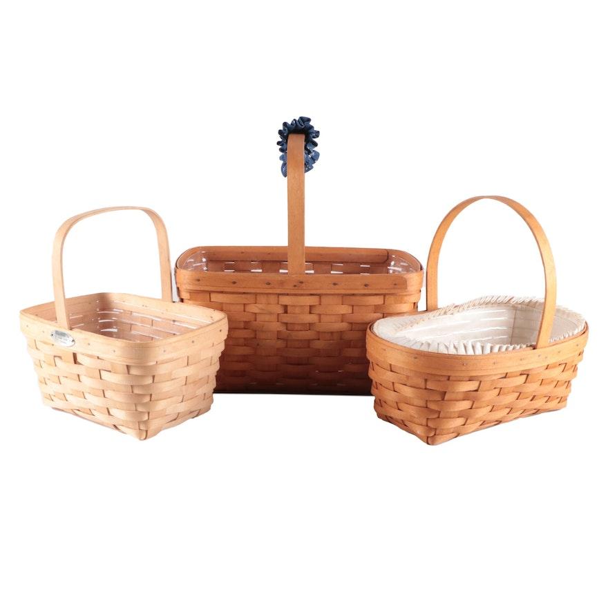 Longaberger Handwoven Handled Wood Slat Baskets, Late 20th Century