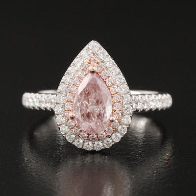 18K 1.10 CTW Diamond Teardrop Ring with GIA Report