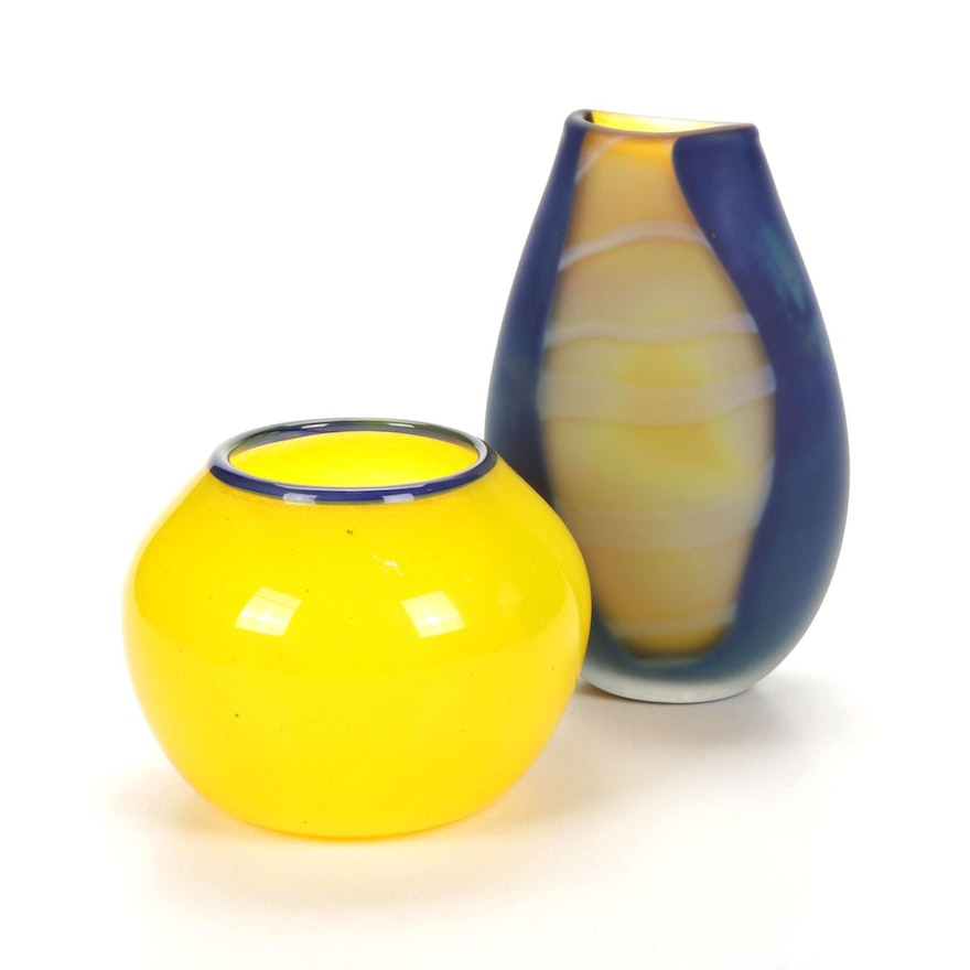 Blown Glass Blue and Yellow Art Glass Vases