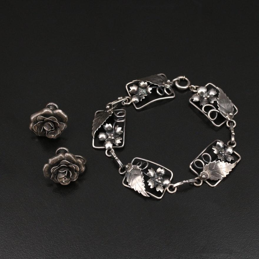 Danecraft Sterling Floral Earrings with Panel Bracelet