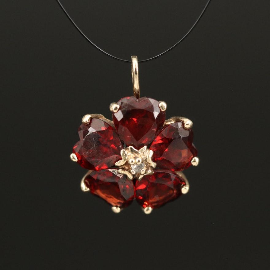 14K Diamond and Garnet Flower Pendant