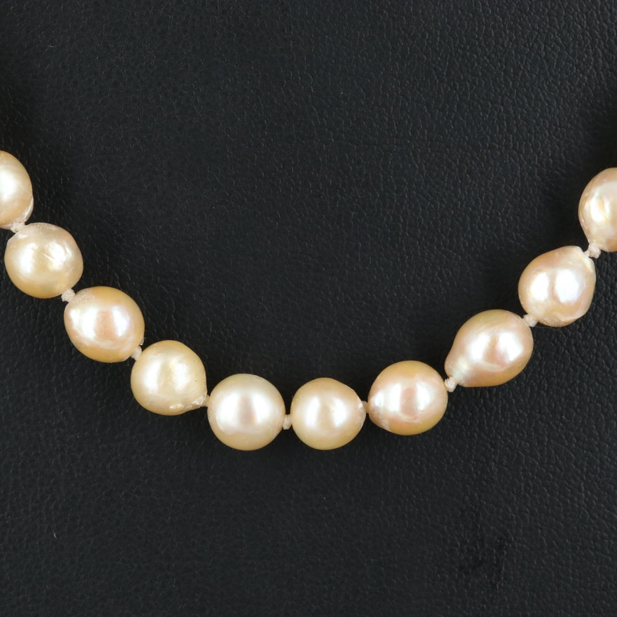 Pearl Necklace with Vintage Mikimoto Sterling Clasp