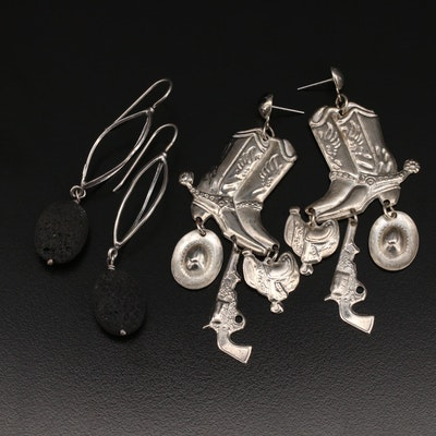 Sterling Lava Earrings with Cowboy Boot Earrings