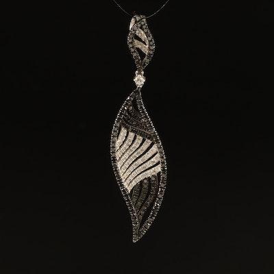 18K 1.03 CTW Black and 0.51 CTW White Diamond Pendant