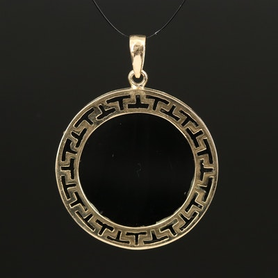 14K Onyx Pendant with Cut-Out Trim