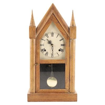 Oak Steeple Mantel Clock, 20th Century