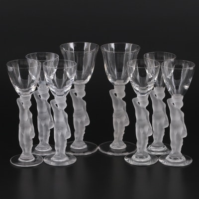 """France """"Bacchus"""" Frosted Stem Cordial and Wine Glasses, Mid to Late 20th Century"""