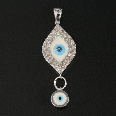 14K 0.36 CTW Diamond and Enamel Evil Eye Drop Pendant