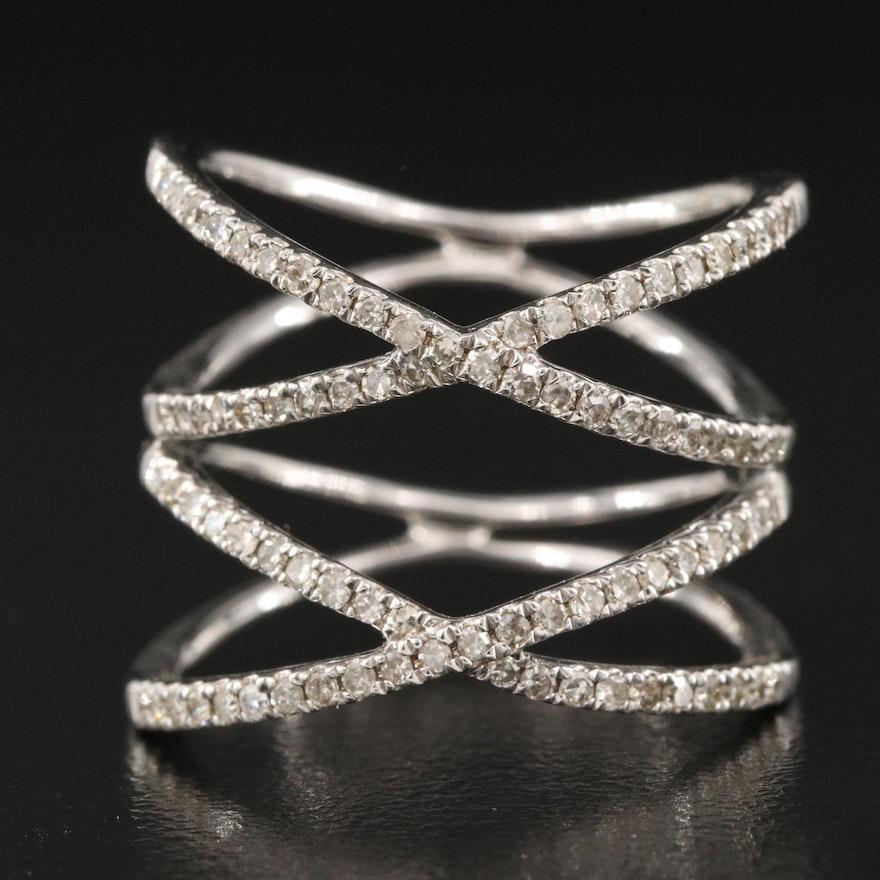 14K 0.47 CTW Diamond Double Crossover Ring
