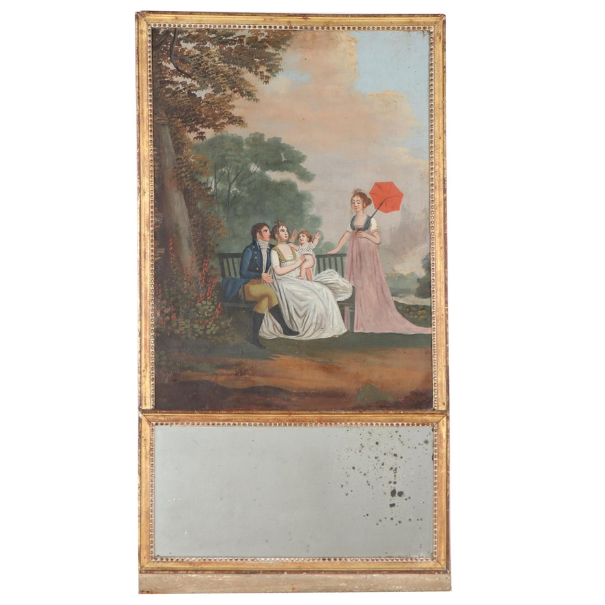 Trumeau Mirror With Figurative Oil Painting, 19th Century