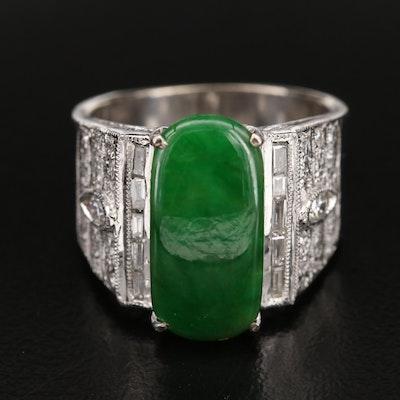 18K Jadeite and Diamond Tapered Ring