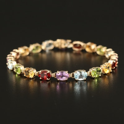 14K Multicolor Gemstone Line Bracelet