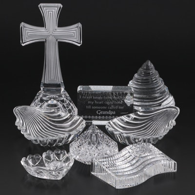 Waterford, Baccarat Crystal Paperweights with Other Glass Paperweights