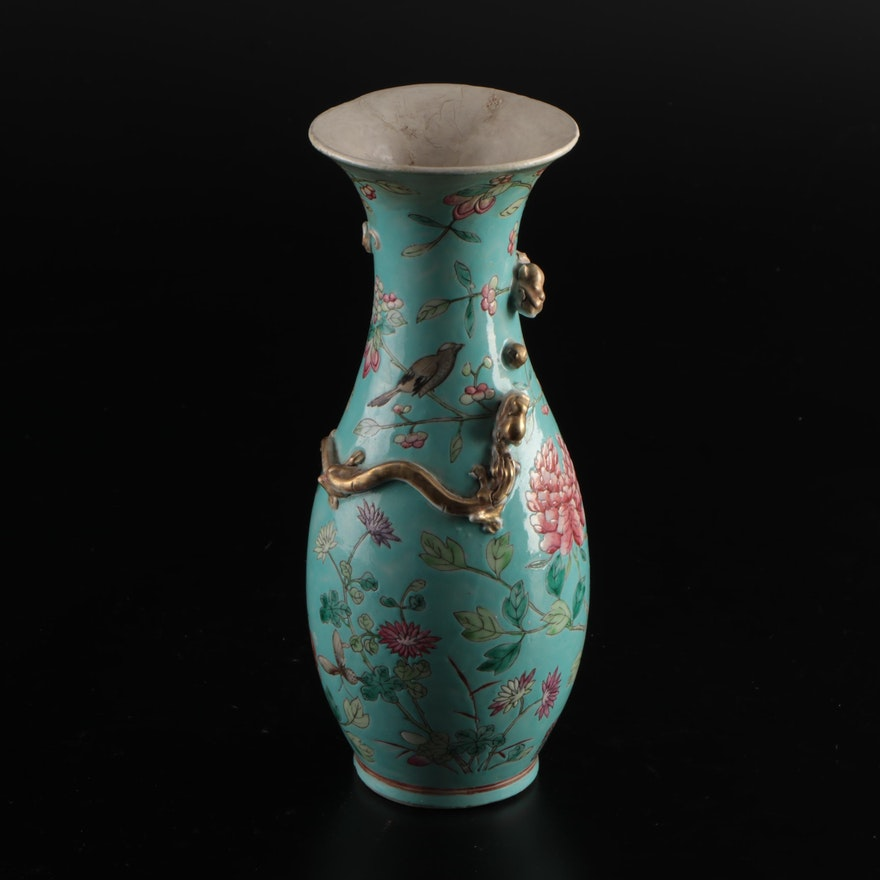 Jones, McDuffee & Stratton Majolica Floral Vase with Applied Gilded Dragon