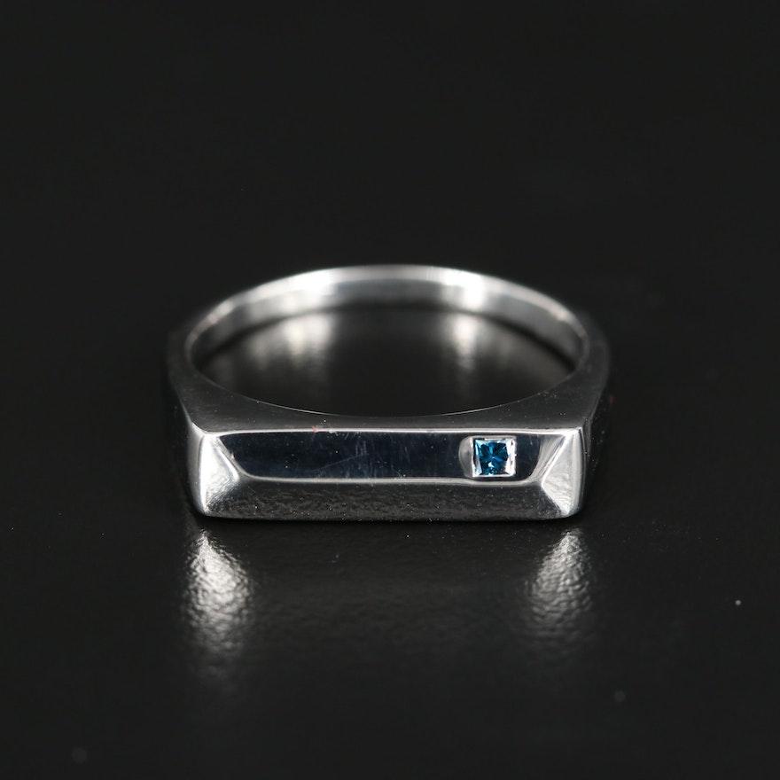 Sterling Diamond Minimalist Solitaire Ring