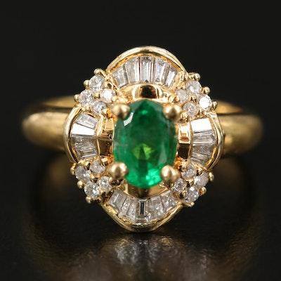 18K Emerald and Diamond Ballerina Ring