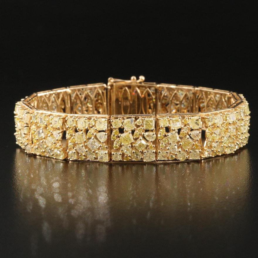 18K 17.06 CTW Yellow Diamond Panel Bracelet with GIA Report