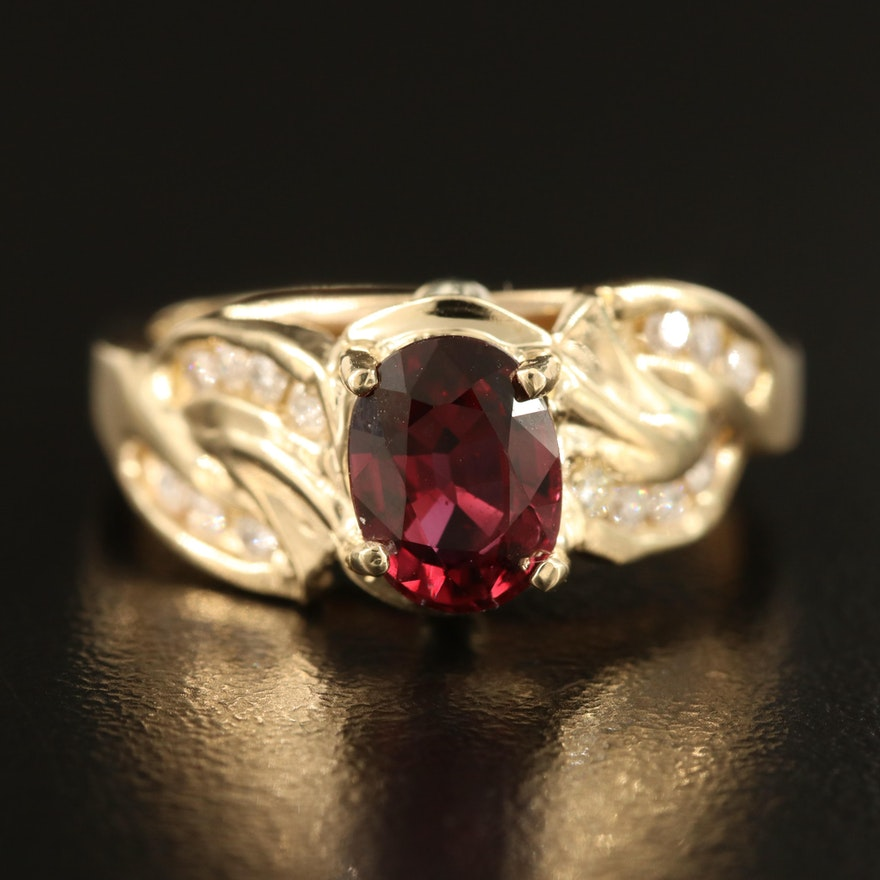 14K 1.53 CT  Ruby and 0.25 CTW Diamond Ring