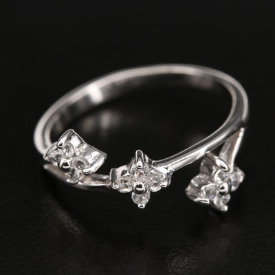 Sterling Zircon Floral Ring