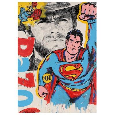 "John Stango Large-Scale Pop Art Mixed Media Painting ""Superman Clint"""