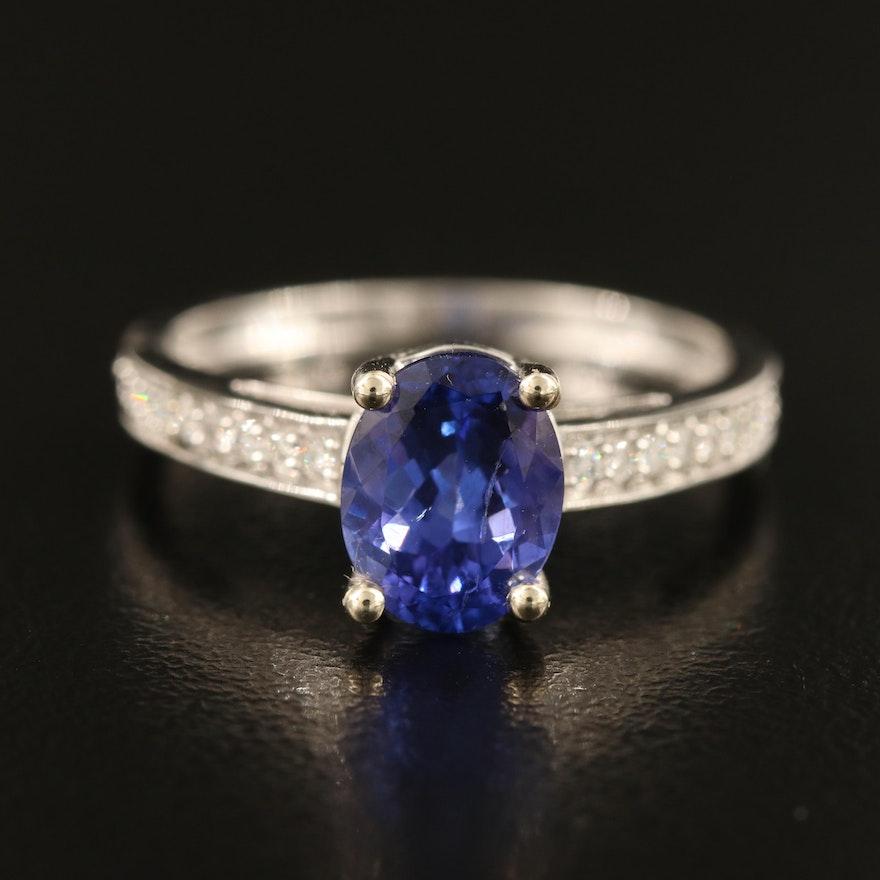 14K 1.65 CT Tanzanite and Diamond Ring