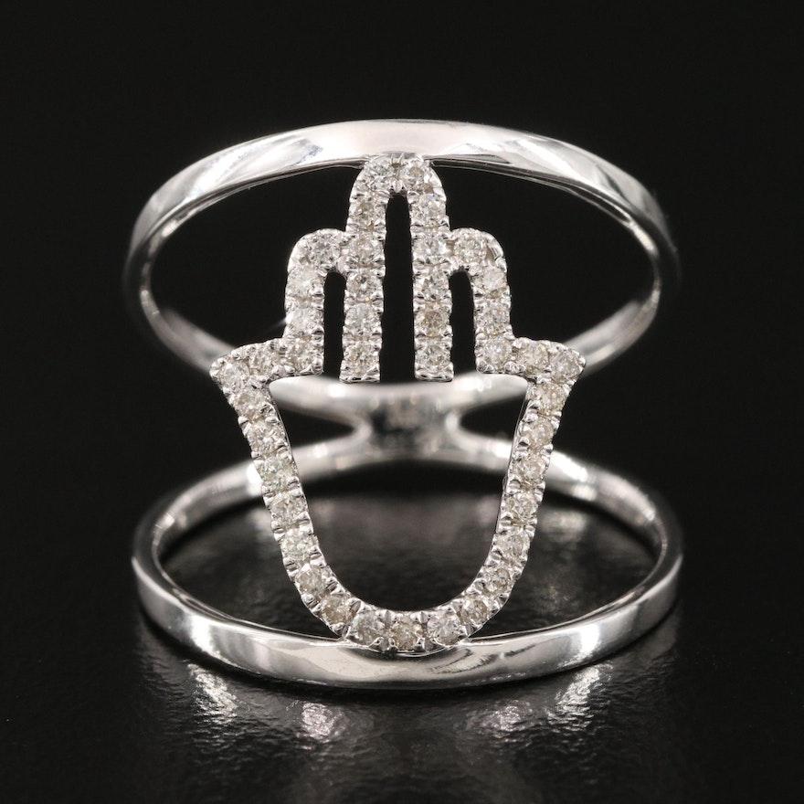 14K 0.24 CTW Diamond Hamsa Ring