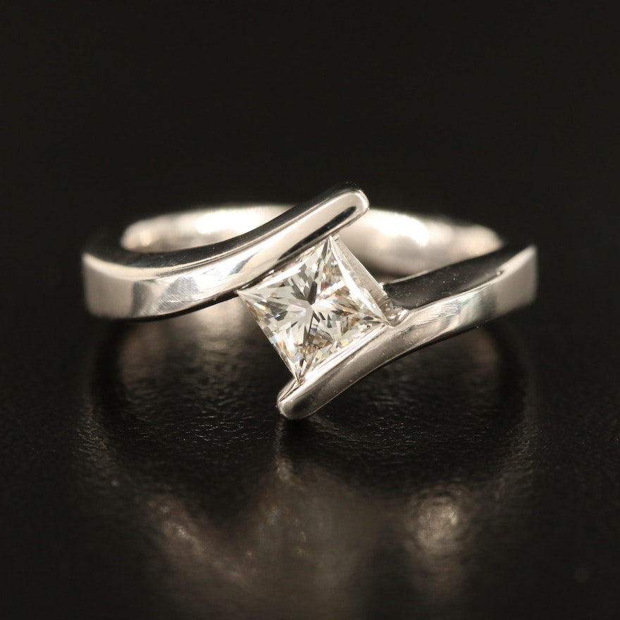14K 0.53 CT Diamond Solitaire Bypass Ring