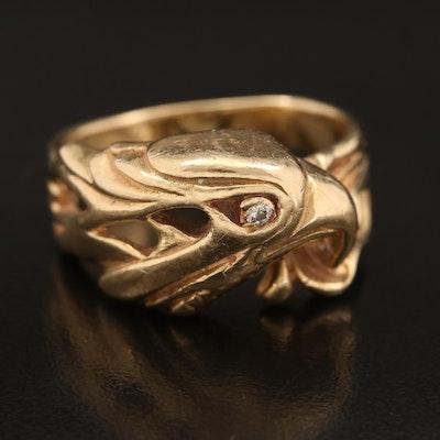 14K 0.03 CT Diamond Eagle Ring