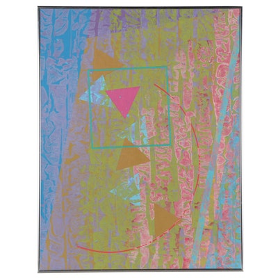 """Walter Stomps Abstract Acrylic Painting """"The Metaphysics of Magenta"""""""