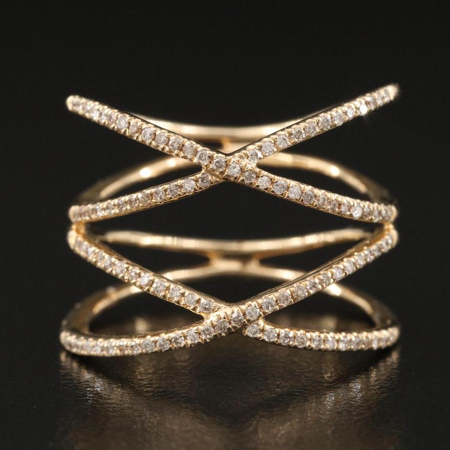 14K 0.21 CTW Diamond Double Crossover Ring