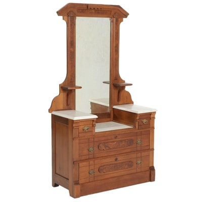 Victorian Walnut Dresser with Marble Top, Early 20th Century