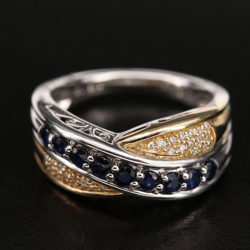 Sterling Sapphire Crossover Ring with 14K Accent and Cubic Zirconia