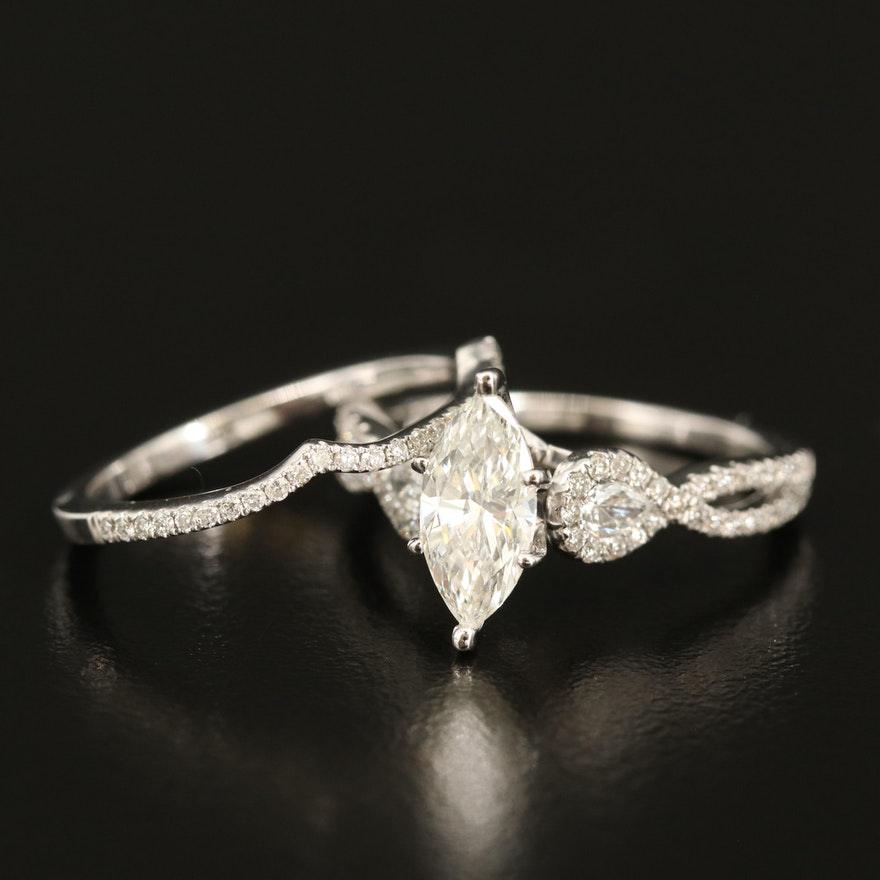 14K Diamond Marquise Ring and Band