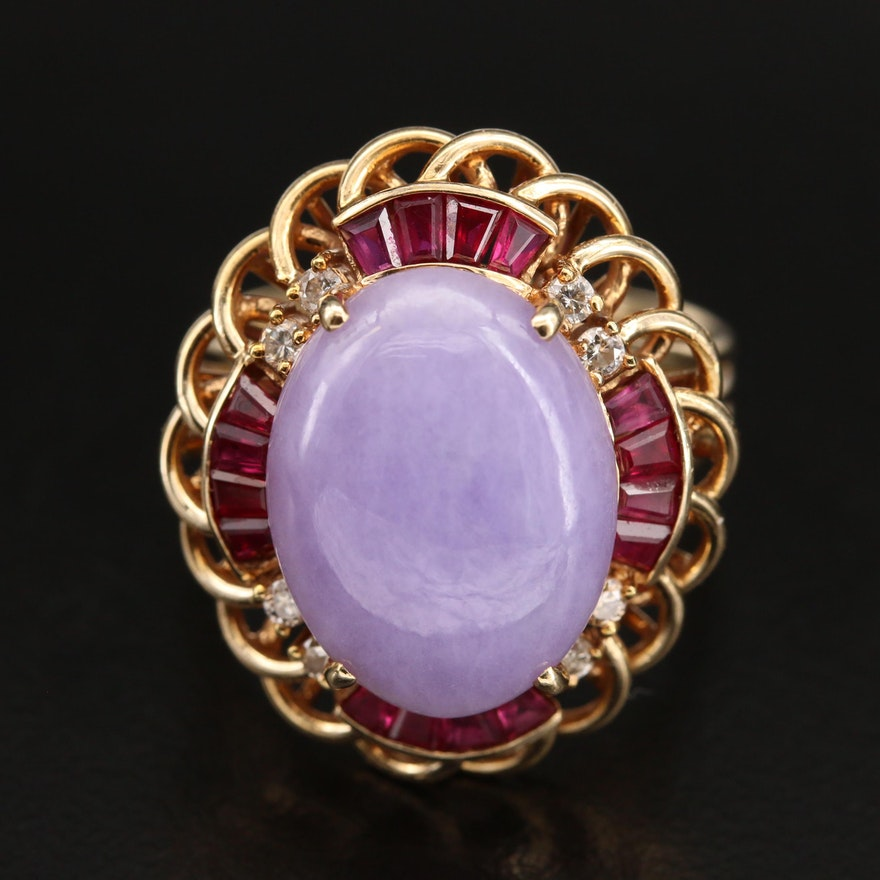 18K Jadeite, Ruby and Diamond Scalloped Ring