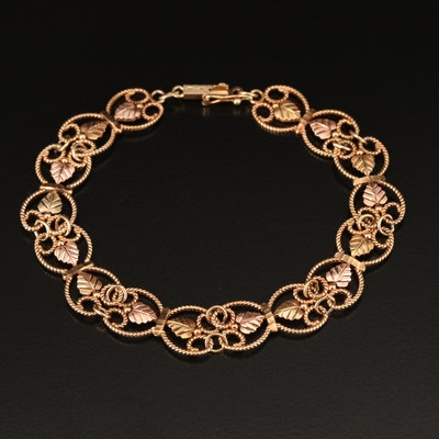 Coleman Black Hills Gold 10K Foliate Bracelet with Green and Rose Gold Accent