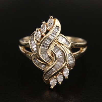 14K 0.85 CTW Diamond Twist Ring