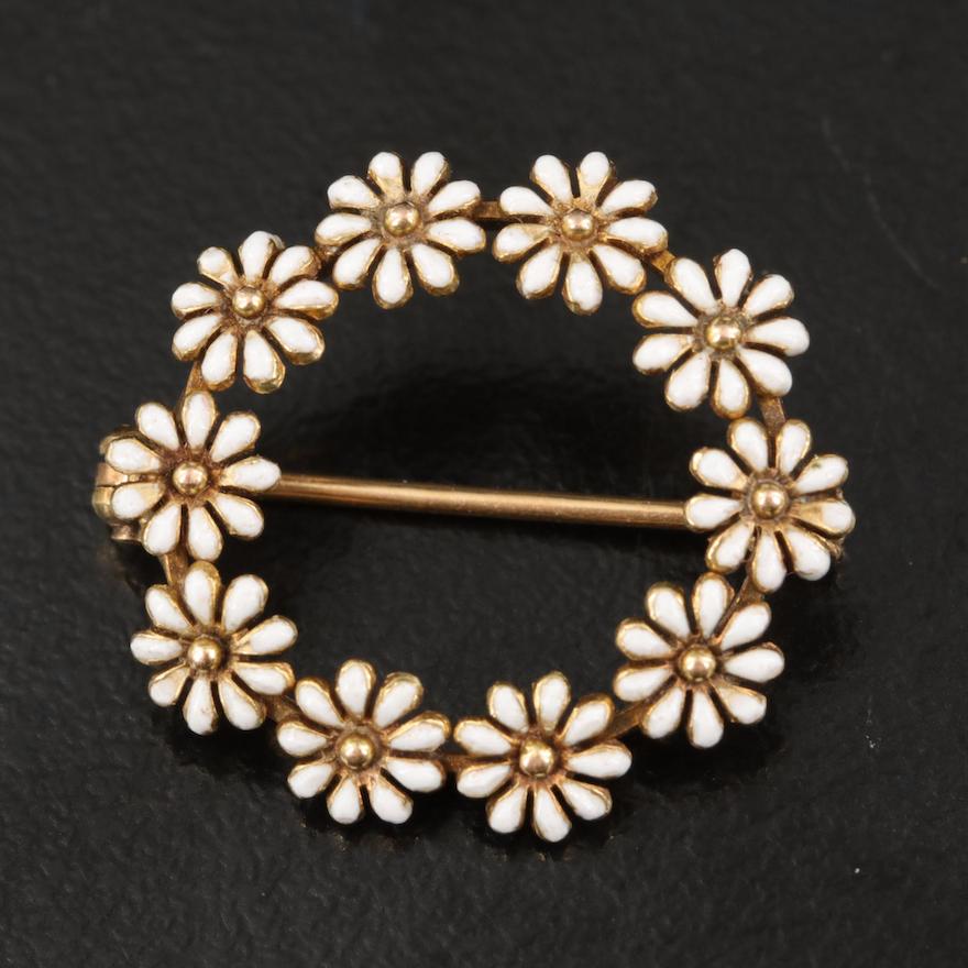 Vintage 14K Enamel Daisy Wreath Brooch