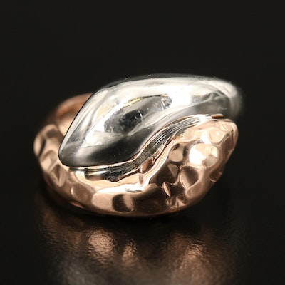 Italian 14K Two-Tone Gold Bypass Ring